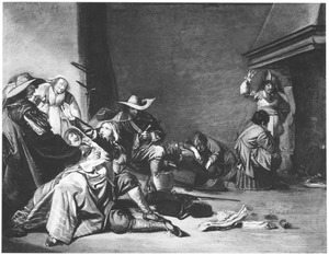 Stoeiende soldaten en vrouwen in een wachtlokaal