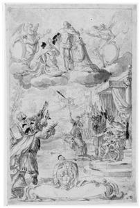 Onthoofding van een martelaar en kroning van twee heiligen