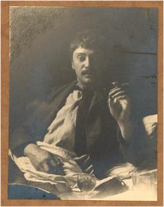 Zelfportret met sigaar in de hand