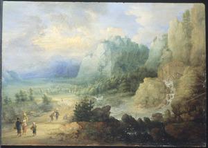 Berglandschap met een watermolen en een landweg met wandelaars