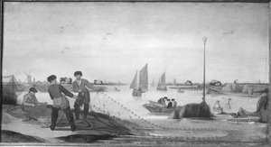 Rivierlandschap met vissers, die hun net inhalen