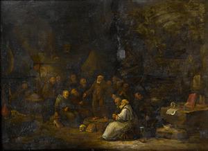 Monniken luisterend naar een preek in een grot