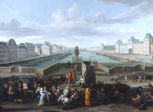Gezicht op Parijs met het Louvre, vanaf de Pont Neuf met het ruiterstandbeeld van Hendrik IV