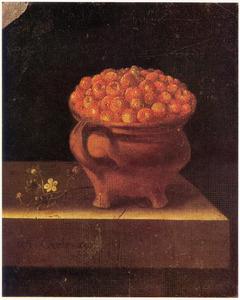 Aardbeien in een aardewerken pot op een stenen blad