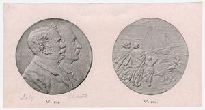 Penning met portret van Cornelis Lelie (1854-1929) en Kornelis Eland (1838-1927)