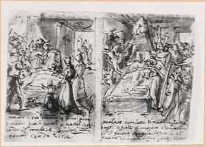 Schetsboekblaadje met twee voorstellingen van Ars Moriendi