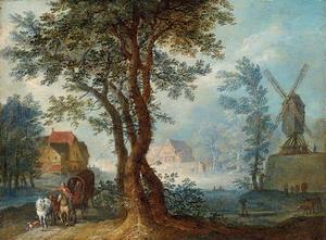 Landschap met huifkar bij een dorp met een windmolen