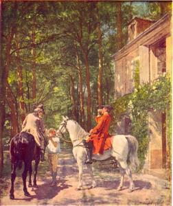 Twee ruiters bij de herberg langs de weg
