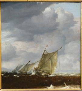 Schepen op onrustige zee