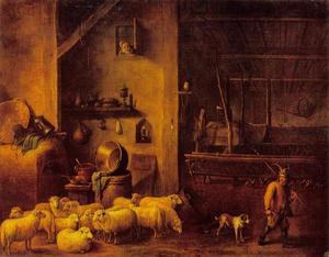 Stalinterieur met schapen en een herder