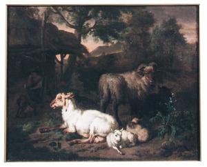 Schapen met een herder rustend voor een hut