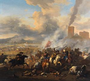 Ruitergevecht met oosterlingen in een heuvelachtig landschap