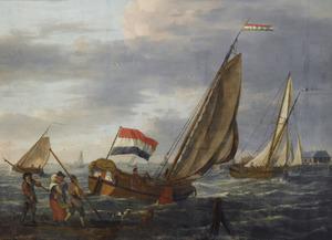 Zeilende boten bij Dordrecht, met toekijkende figuren op de kade