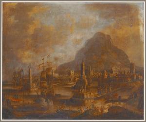 Fantasiegezicht op de haven van Constantinopel, met een galei en zeilschepen