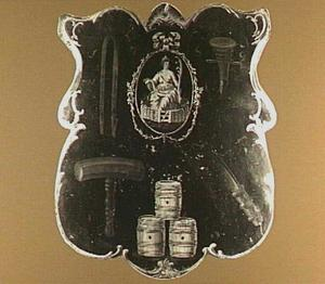 Begrafenisschild van het Kuipersgilde St. Ewout; met afbeelding van de Dordtse Maagd