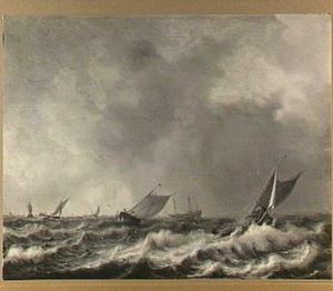Vissersschepen op onrustige zee
