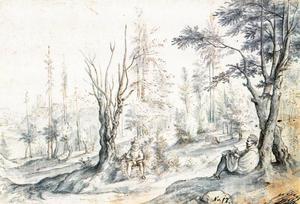 Boslandschap met twee tekenaars