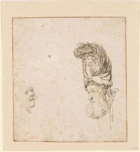 Kop van een man met een hoge hoed van bont en een zelfportret