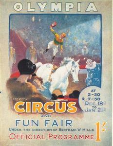Voltigerende jockey op het programma van het circus Bertram Mills