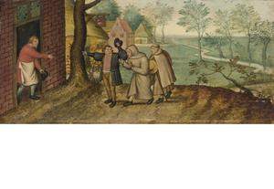 Twee monniken voor een herberg