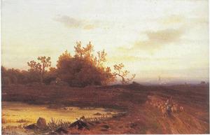 Heidelandschap met herder en schaapskudde bij een plas