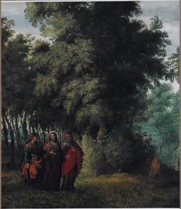 Boslandschap met de ontmoeting tussen Christus, Petrus en Cleofas op weg naar  Emmaüs  (Lucas 24:13-35)