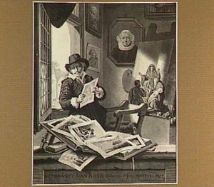 Fantasieportret van Rembrandt in zijn atelier