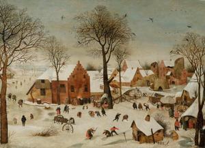 Winterlandschap met dorpsactiviteiten