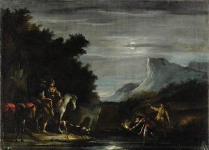 Landschap met krabvissers bij maanlicht