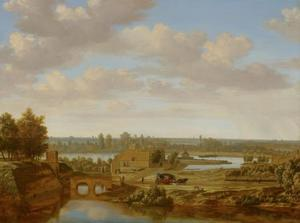 Landschap met gezicht bij de Rijnpoort te Arnhem