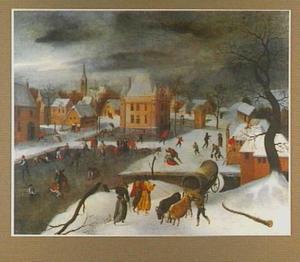 Winterlandschap met ijsvermaak bij een kasteel in een dorp
