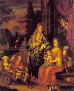 Portret van een echtpaar met vier kinderen
