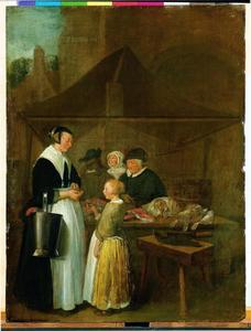 Jonge vrouw en een meisje bij een viskraam