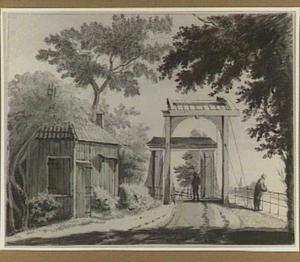 Landweg met ophaalbrug, houten gebouw en figuren