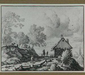 Heuvellandschap met een weg naar een dorp