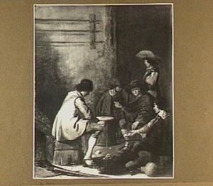 Interieur met kaartspelers