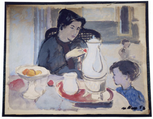 Moeder en kind aan tafel