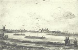 Gezicht over de Rijn op het Tolhuis bij Lobith