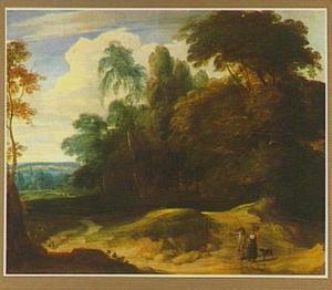 Boslandschap met twee figuren op een zandweg
