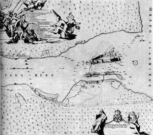 Kaart met de verovering van Sjlisselburg (Noteburg), 11 oktober 1702