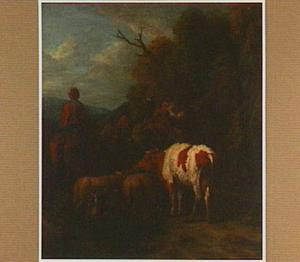 Boschtig landschap met kudde vee onderweg