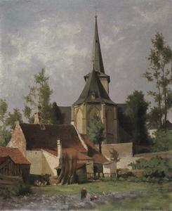 Gezicht op de achterzijde van een kerk
