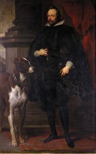 Portret van hertog Wolfgang Wilhelm von Pfaltz-Neuburg, staande ten voeten uit, met zijn hond