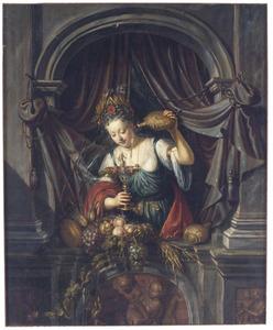 Een jonge vrouw in een venster schenkt wijn (Ceres)