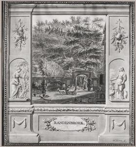 Portret van Maria Croon (1729-1799) met haar dochter, schoonzoon en kleinzoon bij huis Randenbroek te Amersfoort