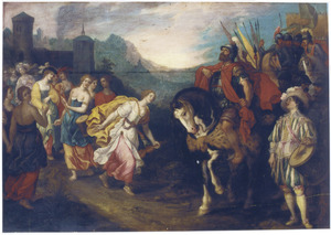 Jefta door zijn dochter begroet; hij scheurt zich in vertwijfeling de kleding (Richteren 11:34-35)