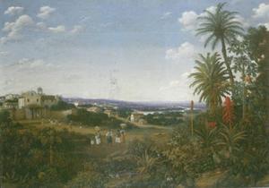 Braziliaans landschap met een Franciscaans klooster en figuren op de achtergrond