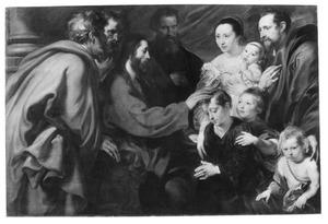 'Laat de kinderen tot mij komen', portrait historié van een gezin in bijbelse omgeving (Matteus 19:13-15; Marcus 10:13-16; Lucas 18:15-17)