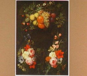 Vruchten- en bloemenfestoenen rondom een cartouche