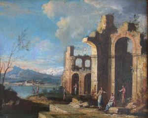 Figuren in een Italiaans landschap met ruïne